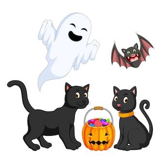 Illustratie van halloween-objecten Premium Vector