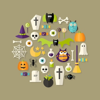 Illustratie van halloween-platte pictogrammen die over lichtbruin worden geplaatst