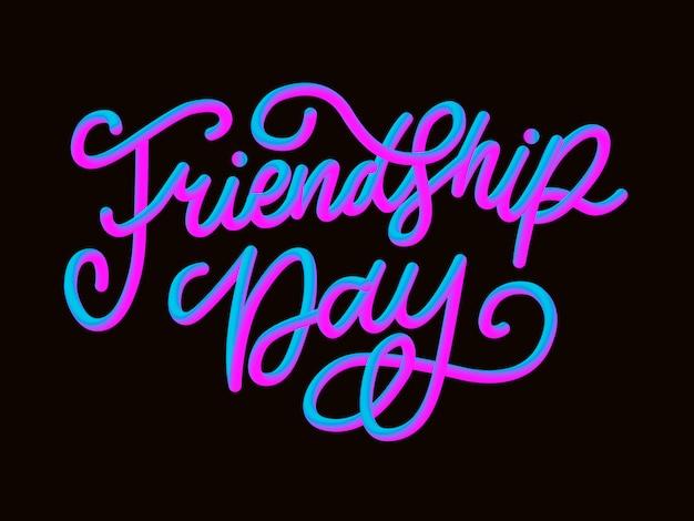Illustratie van hand getrokken gelukkige vriendschap dag felicitatie in fashion stijl met belettering tekstbord en kleur driehoek voor grunge effect op witte achtergrond Premium Vector