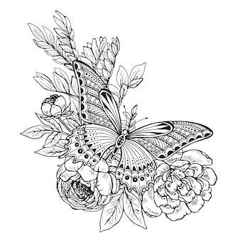Illustratie van hand getrokken grafische vlinder op het boeket van pioenbloemen