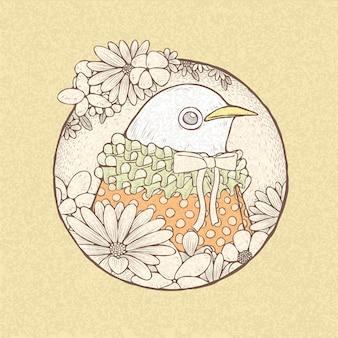 Illustratie van hand getrokken retro-stijl schattige vogel