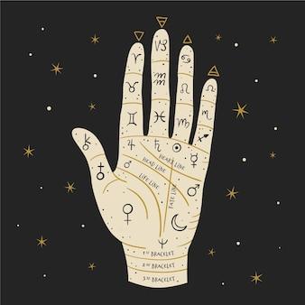 Illustratie van handlijnkunde concept met mystieke elementen