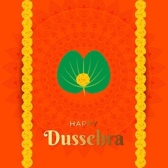 Illustratie van happy dussehra met gouden verlof en bloem