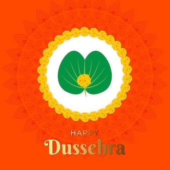 Illustratie van happy dussehra met goudsbloembloemen en apta-bladeren, ook bekend als gouden bladeren