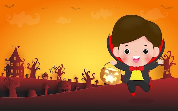 Illustratie van happy halloween, schattige kleine dracula vampire met pompoen
