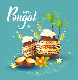 Illustratie van happy pongal holiday harvest festival van tamil nadu zuid-india.