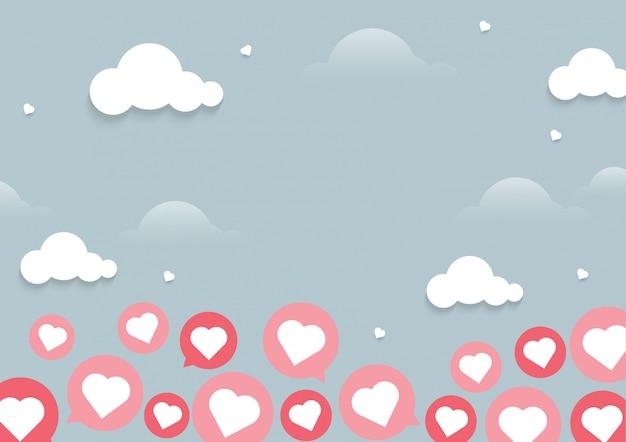 Illustratie van hart die op lichte achtergrond met praatjeconcept vliegen