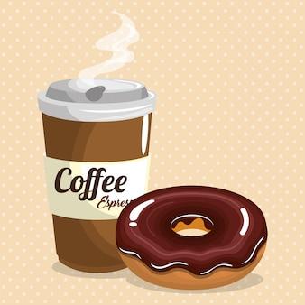 Illustratie van heerlijke koffie plastic pot en donut