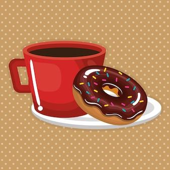 Illustratie van heerlijke koffiekopje en donuts