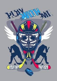 Illustratie van helm met vleugels en silhouetten van spelers