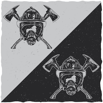 Illustratie van helmen met gekruiste assen