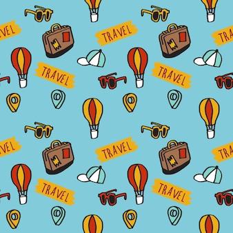 Illustratie van herhaalpatroon naadloos concept van schattige handgetekende reizende pictogrammen