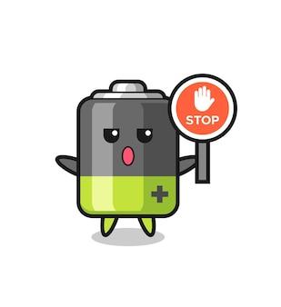 Illustratie van het batterijkarakter met een stopbord, schattig stijlontwerp voor t-shirt, sticker, logo-element