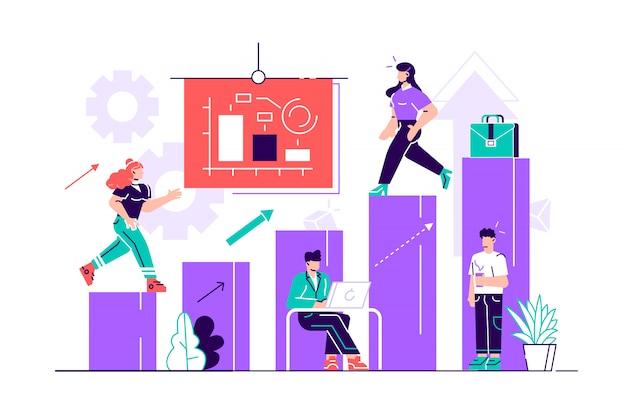Illustratie van het bedrijfsleven, kantoormedewerkers bestuderen infographics op een grafiek uit de kolommen, analyseren de evolutionaire schaal, heffen op-vector. vlakke stijl modern design illustratie voor webpagina, kaart