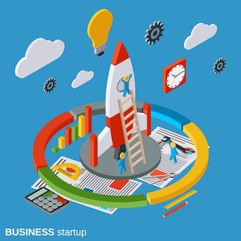 Illustratie van het bedrijfsopstarten de vlakke isometrische concept