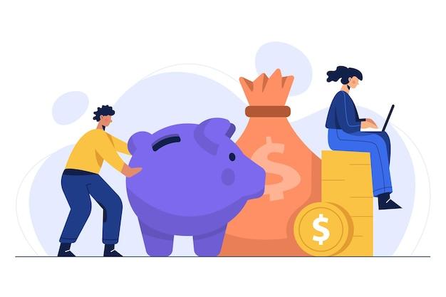 Illustratie van het besparen van geld in de huishoudelijke sector voor investeringen, uitgaven en het dagelijks leven