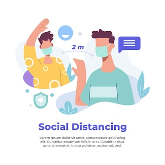 Illustratie van het bewaren van sociale afstand tijdens een pandemie