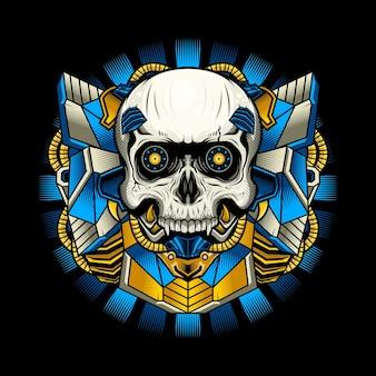 Illustratie van het blauwe gedetailleerde ontwerp van de cyborgschedel