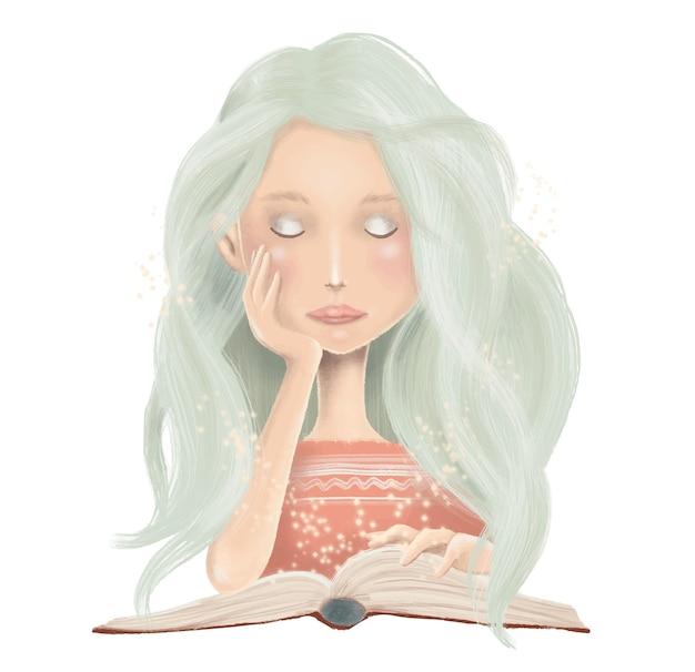 Illustratie van het boek van de meisjeslezing