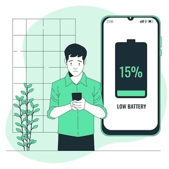 Illustratie van het concept van de batterij bijna leeg