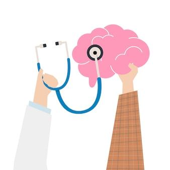 Illustratie van het concept van de hersenencontrole