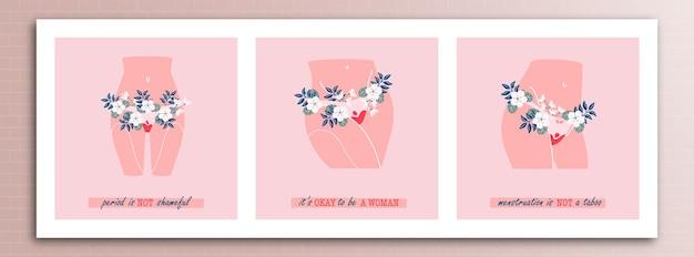 Illustratie van het concept van de menstruatiecyclus met verschillende inscripties