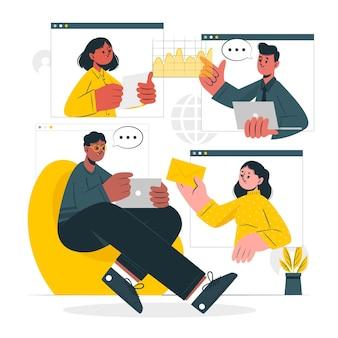 Illustratie van het concept van een vergadering op afstand