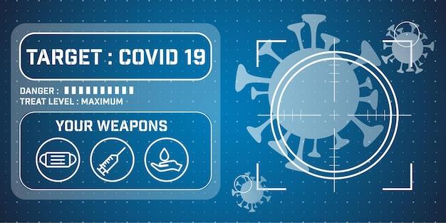 Illustratie van het coronavirus covid 19 doelontwerp
