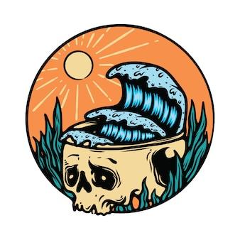 Illustratie van het de zomerstrand van halloween van het schedelskelet