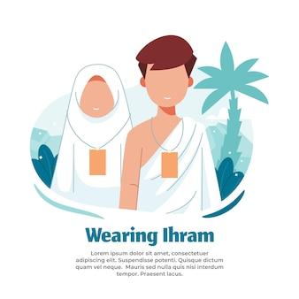 Illustratie van het dragen van ihram-kleding tijdens het doen van de hadj