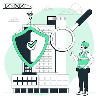 Illustratie van het gebouwveiligheidsconcept