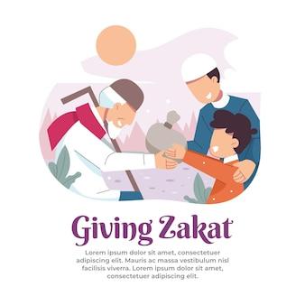 Illustratie van het geven van zakaat aan mensen in nood in de maand ramadan