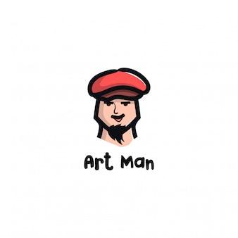 Illustratie van het gezicht van een man met een hoed, snor, baard en dikke wenkbrauwen.