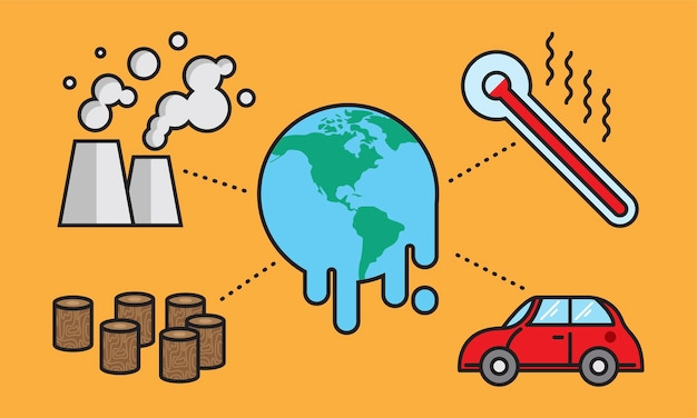 Illustratie van het globale verwarmen concept
