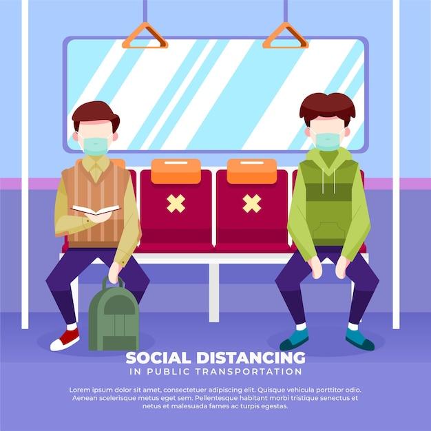 Illustratie van het handhaven van sociale afstand in het openbaar vervoer