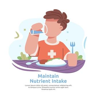 Illustratie van het handhaven van voeding na vaccin