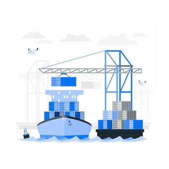 Illustratie van het havenconcept