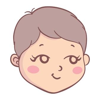 Illustratie van het hoofd smileygezicht van een cartoonkind