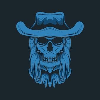 Illustratie van het hoofd van de cowboyschedel