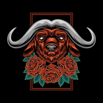 Illustratie van het hoofd van de stier met roos ornament Premium Vector