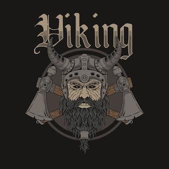 Illustratie van het hoofd van de viking-strijder die een helm van viking draagt Premium Vector