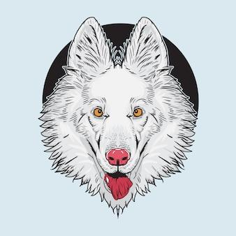 Illustratie van het hoofd van de witte hond