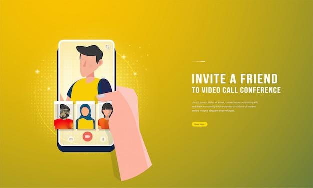 Illustratie van het houden van een smartphone om vrienden uit te nodigen voor een videogesprekconferentie