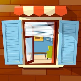 Illustratie van het huis de voorgevel open venster van venster met open houten blinden