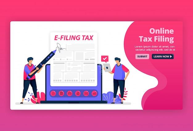 Illustratie van het indienen en betalen van inkomstenbelasting met online formulieren. digitale belastingaangifte met e-formulier. belastingrekeningen apps.