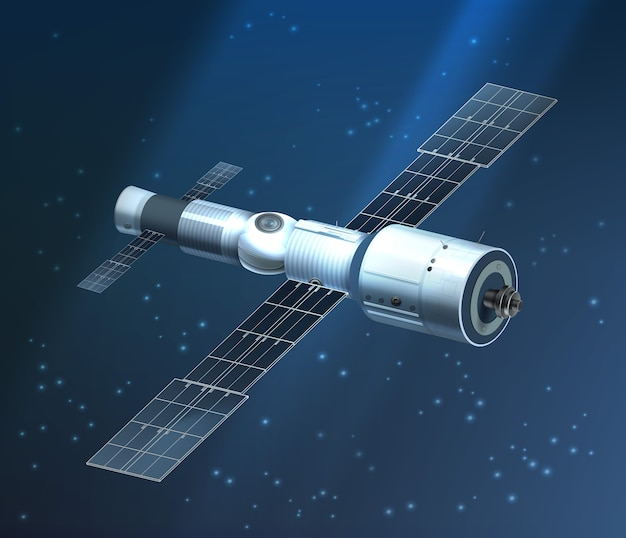 Illustratie van het internationale ruimtestation in een baan op een sterrige achtergrond