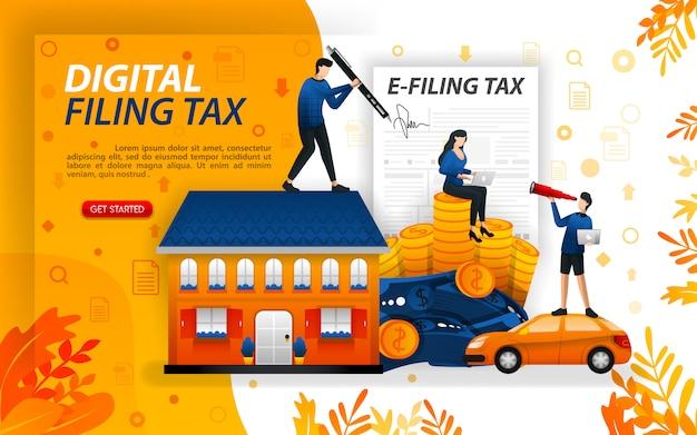 Illustratie van het invullen van jaarlijkse belastingen online met huis en auto
