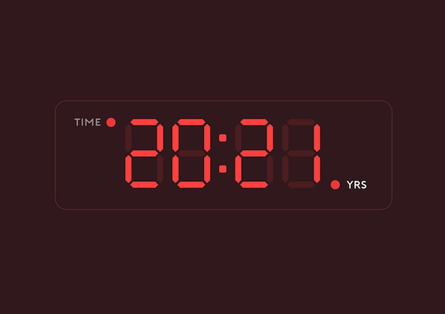 Illustratie van het jaar 2021 in digitale klokstijl
