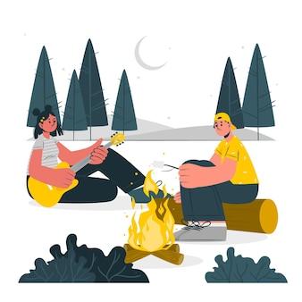 Illustratie van het kampvuurconcept