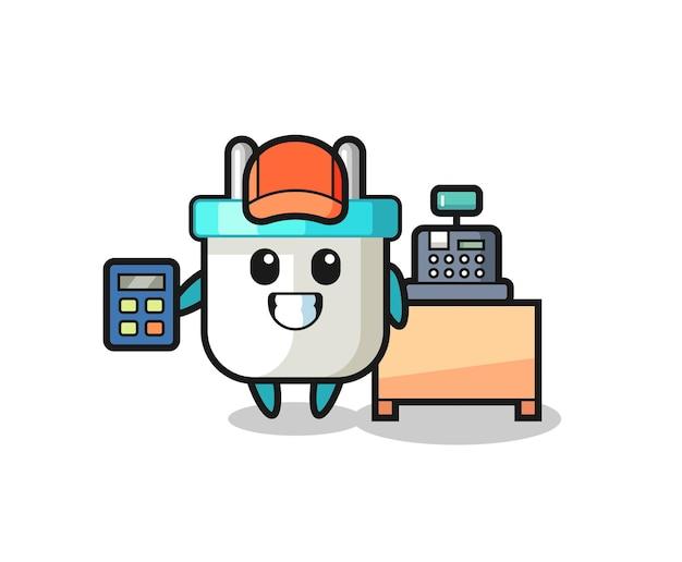 Illustratie van het karakter van de elektrische stekker als kassier